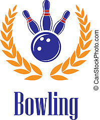 Bowling elements in laurel wreath - Bowling sports elements...
