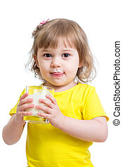 funny kid drinking yogurt or milk isolated on white