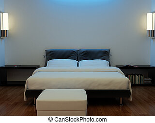 Interior of a bedroom with a bed