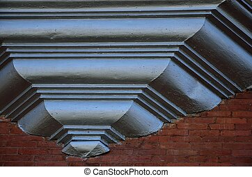 Architectural background - Wooden trim on an old brick...