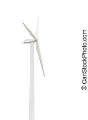 wind turbine isolated on white background with clipping path