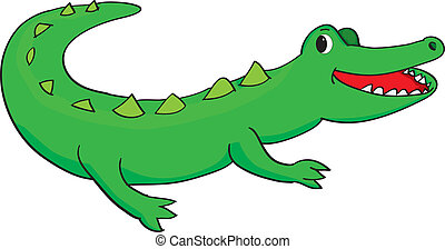happy alligator - Vector illustration of a happy green...