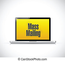 mass mailing message on a laptop computer. illustration...
