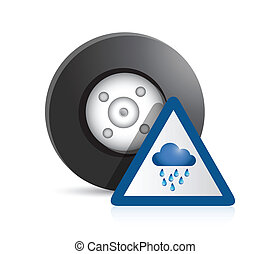wheel and raining sign illustration design over a white...