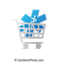 shopping cart medical symbol illustration design over a...