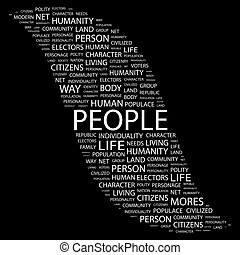 PEOPLE. Background concept wordcloud illustration. Print...
