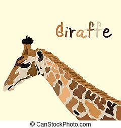 giraffe head vector - image of giraffe head with text vector...