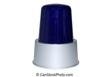 Blue rotating beacon isolated on white background.