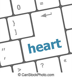 modern keyboard keys with a word heart