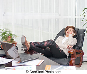 Relax female boss - Female business people lying on the...