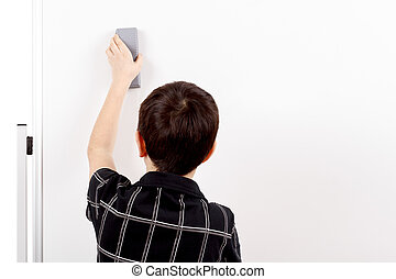 young boy student and whiteboard