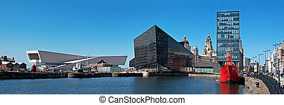Panoramic View of Liverpool's historic waterfront, with...