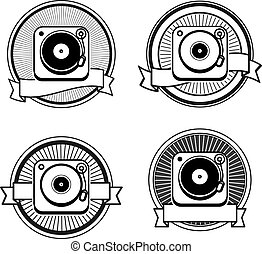Black and white record player icon: vintage icon