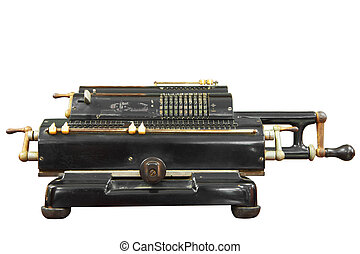 Vintage calculator with clipping path. - Vintage calculator...