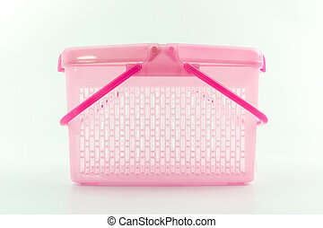 Plastic basket - Plastic basket on isolated white background...