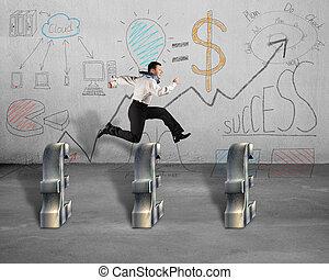 Saltar, encima, Libra, símbolo, empresa / negocio,...