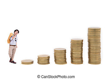 Shopping man goes up the gold coins on a white background