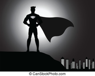 silhouette superhero in the city - A vector standing...
