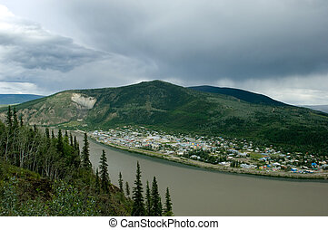 Dawson city, Yukon territories - View of Dawson city on...