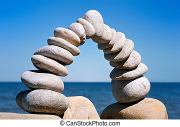 Balance of Pebbles - Balance arc of the white pebbles on the...