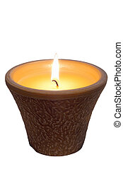 candle Citronella - lit Citronella candle isolated on white