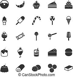 Dessert icons on white background