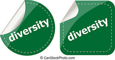 diversity word on stickers button set, label