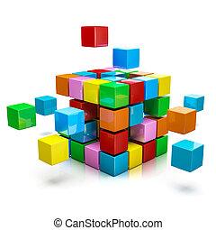 Business teamwork internet communication concept - colorful...