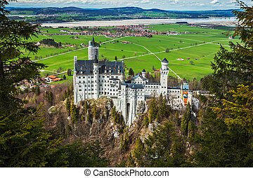 Neuschwanstein Castle, Germany - Famous Bavarian landmark -...