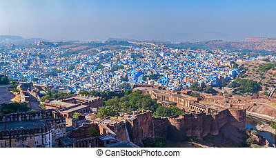 Aerial panorama of Jodhpur - the blue city. Rajasthan, India...