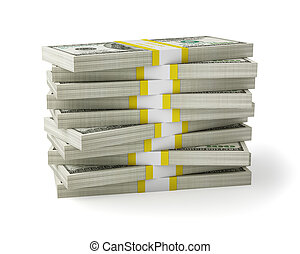 Money stack - US dollars banknotes money stack on white