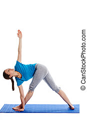 Yoga - young beautiful woman yoga instructor doing Revolved...