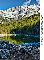 Frillensee (small lake near Eibsee) and Zugspitze - the highest mountain in Germany