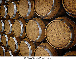 Wooden oak brandy wine beer barrels rows close up