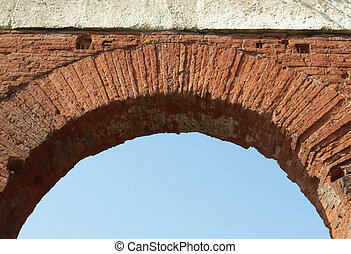 Roman arch with blue sky as copy space