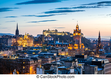 Edinburgh Evening Skyline HDR - Skyline of Edinburgh at...