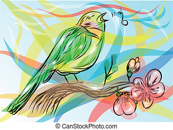 songbird. abstract bird on a multicolor background