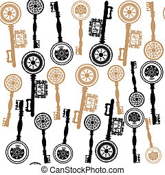 Old keys sealess pattern and seamless pattern in swatch menu, vector