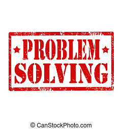 Problem Solving-stamp - Grunge rubber stamp with text...