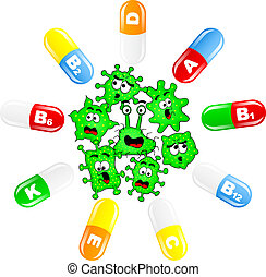Viruses are attacked by vitamins - vector illustration of...