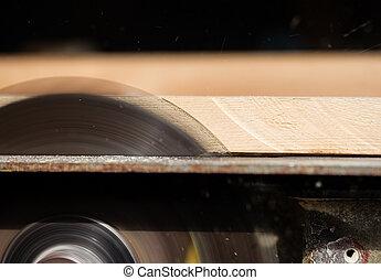 木制, 切, 看見, 板條, 圓