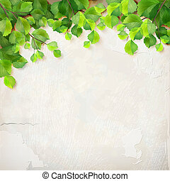 Leaves plaster wall background - Season background with tree...