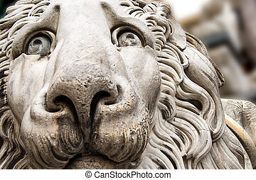 Lion Statue Cathedral St Lawrence Genova - Sculpture of a...