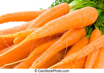 Bunch of Baby Carrots over white