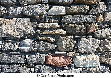 Stone Wall Background - An old gray and brown stone wall...