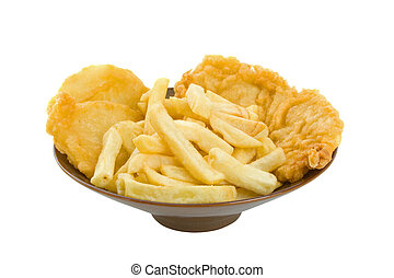 Fish, Chips and Potato Cakes - Fish, chips and potato cakes...