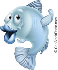 Cartoon fish - An illustration of a blue cartoon fish...