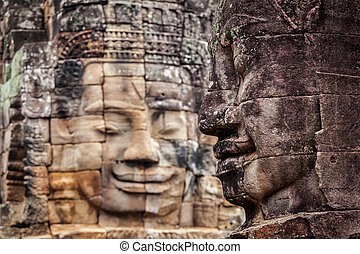 Faces of Bayon temple, Angkor, Cambodia - Ancient stone...