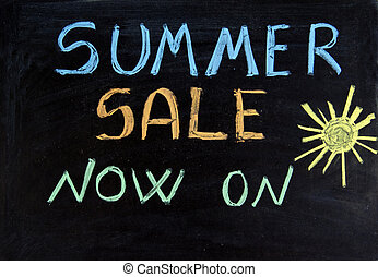 sale - Written summer sale now on on the blackboard