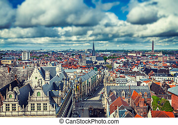 Aerial view of Ghent from Belfry Ghent, Belgium - Vintage...